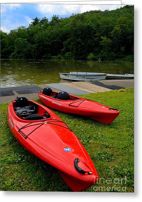 2 Seat Greeting Cards - Two Red Kayaks Greeting Card by Amy Cicconi