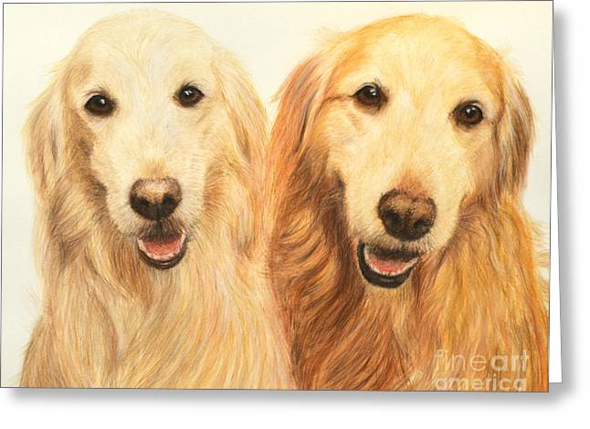 Doggy Pastels Greeting Cards - Two Retrievers Painted Greeting Card by Kate Sumners