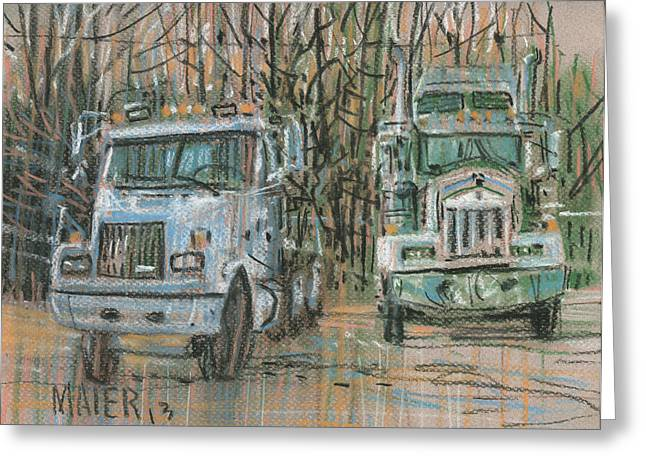 Pastel Drawing Greeting Cards - Two Rigs Greeting Card by Donald Maier
