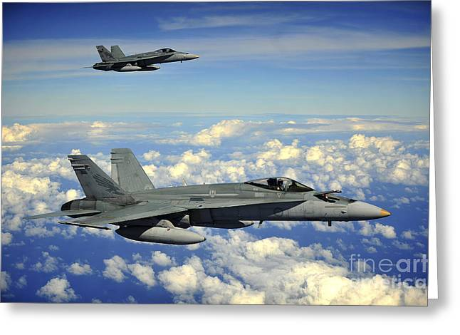 Guam Greeting Cards - Two Royal Australian Air Force Fa-18 Greeting Card by Stocktrek Images
