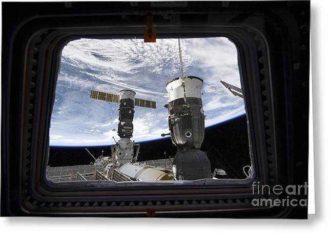 Resupply Greeting Cards - Two Russian Spacecraft Docked Greeting Card by Stocktrek Images