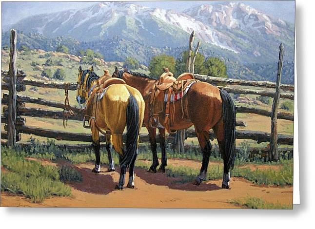 Randy Greeting Cards - Two Saddle Horses Greeting Card by Randy Follis