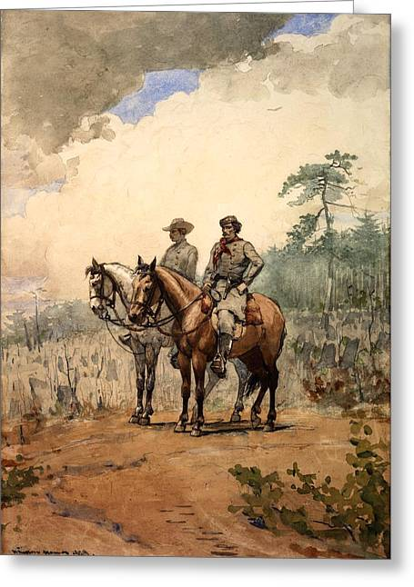 Two Scouts Greeting Card by Winslow Homer