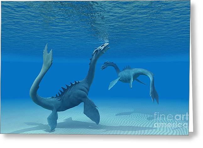Fantasy Creature Digital Greeting Cards - Two Sea Dragons Greeting Card by Corey Ford