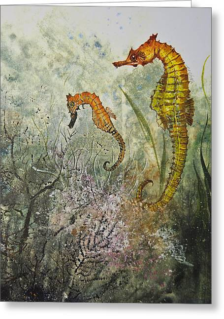 Nancy Gorr Greeting Cards - Two Sea Horses Greeting Card by Nancy Gorr