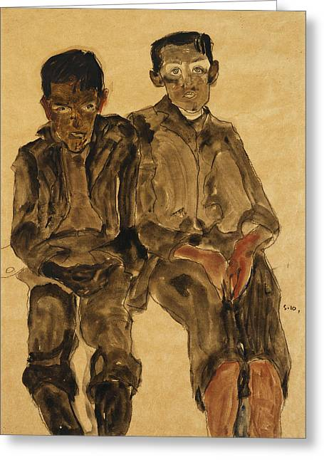 Caucasian Ethnicity Greeting Cards - Two Seated Boys Greeting Card by Egon Schiele