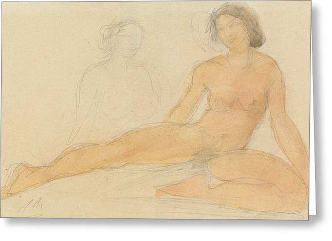 Seated Figure Drawings Greeting Cards - Two Seated Nudes Greeting Card by Auguste Rodin