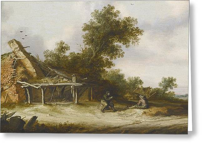 Conversing Paintings Greeting Cards - Two Seated Travellers Greeting Card by Salomon Van Ruysdael