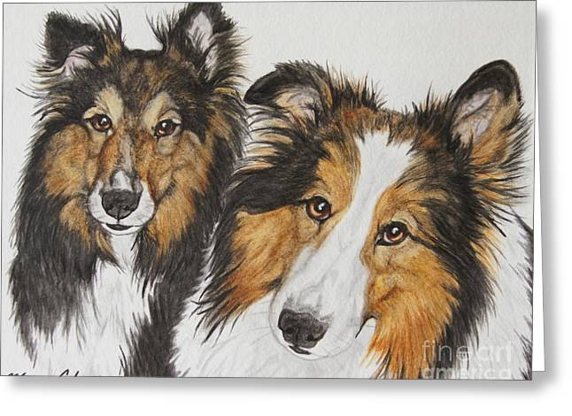 Pet Greeting Cards - Two Shelties Greeting Card by Megan Cohen