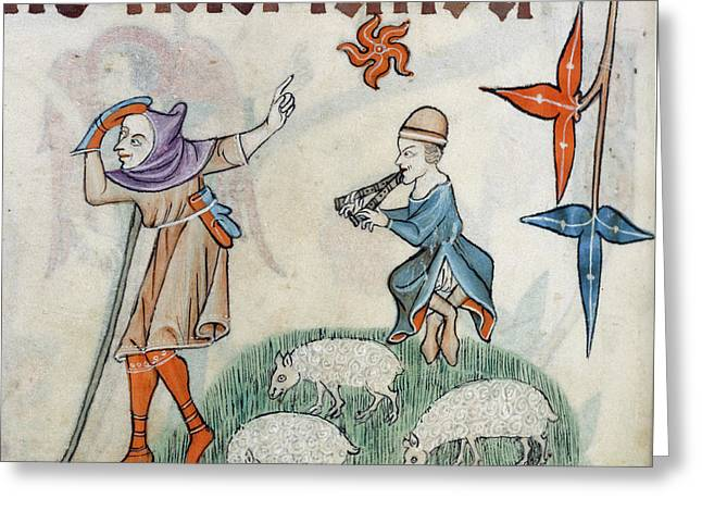 Two Shepherds Greeting Card by British Library