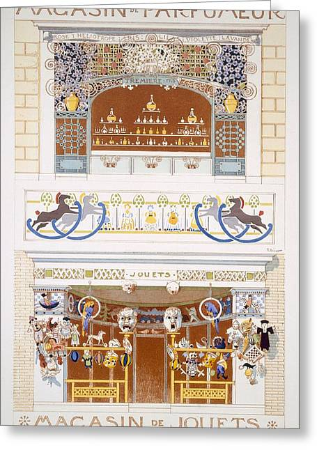 Recently Sold -  - Toy Shop Greeting Cards - Two Shop-front Designs A Perfume Greeting Card by Rene Binet