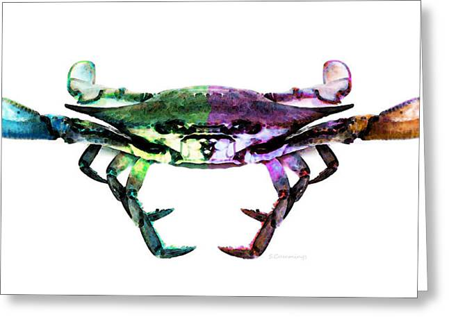 Crab Greeting Cards - Two Sides - Duality Crab Art Greeting Card by Sharon Cummings
