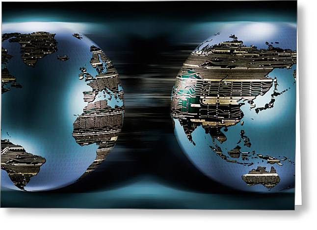 Global Communications Greeting Cards - Two Sides Of Earths Made Of Digital Greeting Card by Panoramic Images