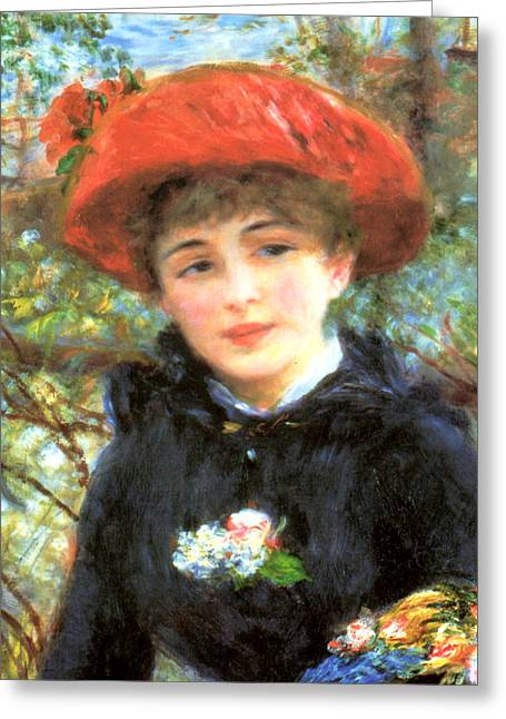 Renoir Digital Greeting Cards - Two Sisters on the Terrace Detail Greeting Card by Renoir