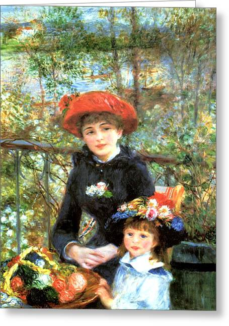 Old Masters Greeting Cards - Two Sisters on the Terrace Greeting Card by Pierre-Auguste Renoir