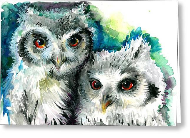 Blau Greeting Cards - Two Sisters - Polar Owl Offsprings Greeting Card by Tiberiu Soos