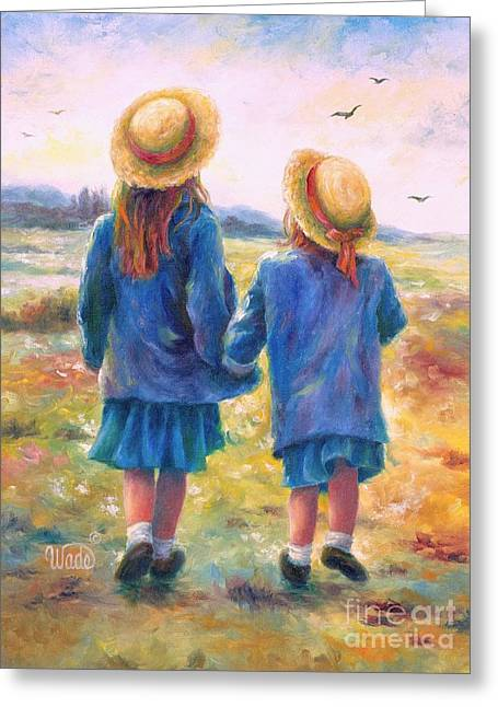 Vickie Wade Paintings Greeting Cards - Two Sisters Greeting Card by Vickie Wade