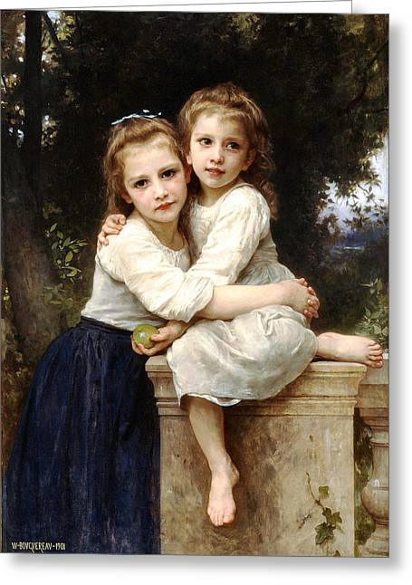 Two Sisters Greeting Card by William Bouguereau