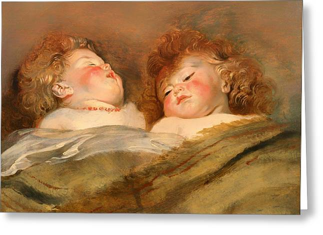 On Blanket Greeting Cards - Two Sleeping Children Greeting Card by Peter Rubens