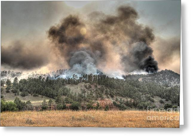 Greeting Card featuring the photograph Two Smoke Columns White Draw Fire by Bill Gabbert