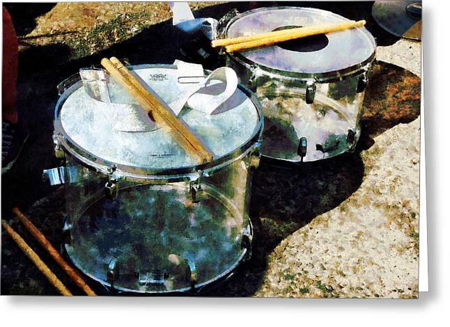 Drum Greeting Cards - Two Snare Drums Greeting Card by Susan Savad