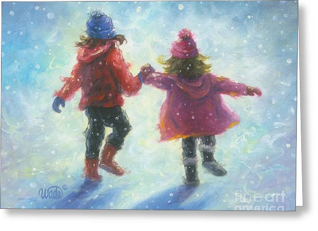 Girl In Snow Greeting Cards - Two Snow Sisters Greeting Card by Vickie Wade