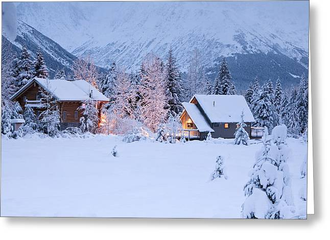 Wintry Greeting Cards - Two Snowcovered Homes In A Wintry Greeting Card by Jeff Schultz