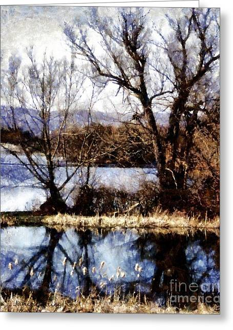 Reflections Of Sky In Water Digital Greeting Cards - Two souls reflect Greeting Card by Janine Riley