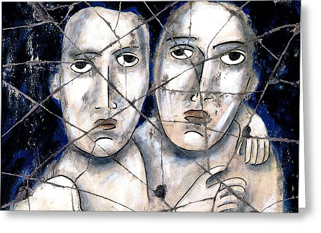 Homoerotic Greeting Cards - Two Souls - Study No. 1 Greeting Card by Steve Bogdanoff