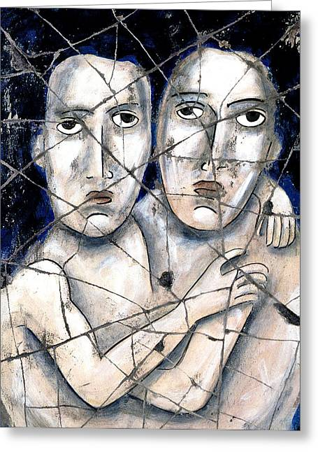 Homoerotic Greeting Cards - Two Souls - Study No. 2 Greeting Card by Steve Bogdanoff