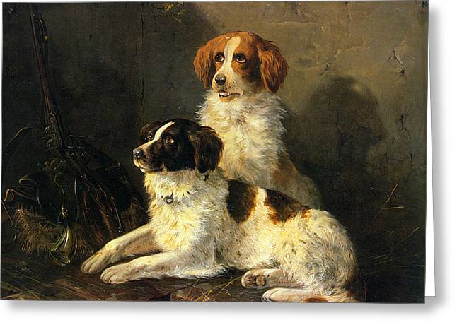 Spaniel Digital Art Greeting Cards - Two Spaniels Waiting For The Hunt Greeting Card by Henriette Ronner Knip
