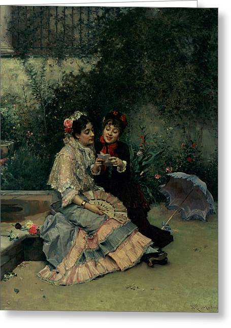 Announcement Greeting Cards - Two Spanish Women Greeting Card by Ricardo de Madrazo y Garreta
