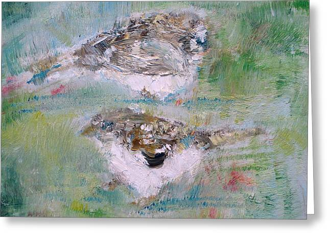 Sparrow Paintings Greeting Cards - Little Birds Greeting Card by Fabrizio Cassetta