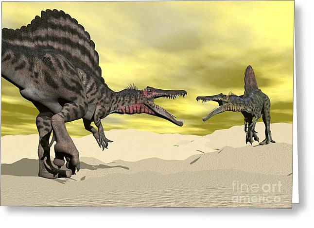 Arid Life Digital Art Greeting Cards - Two Spinosaurus Dinosaur Fighting Greeting Card by Elena Duvernay