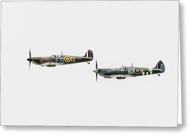 Ldr Greeting Cards - Two Spitfires Greeting Card by Gary Eason