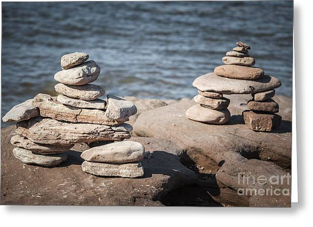 Markers Greeting Cards - Two stacked stone cairns Greeting Card by Elena Elisseeva