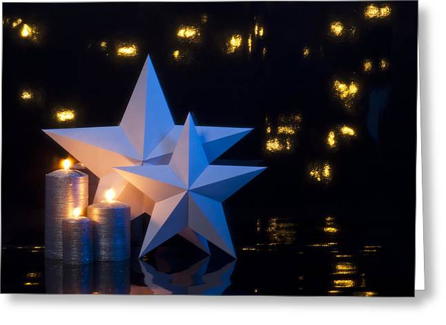 Candle Lit Greeting Cards - Two stars in front of dark background Greeting Card by Ulrich Schade