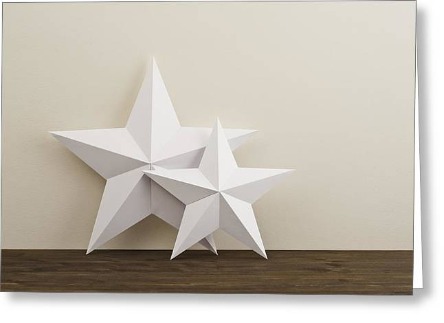 Paper Cut Greeting Cards - Two stars Greeting Card by Ulrich Schade