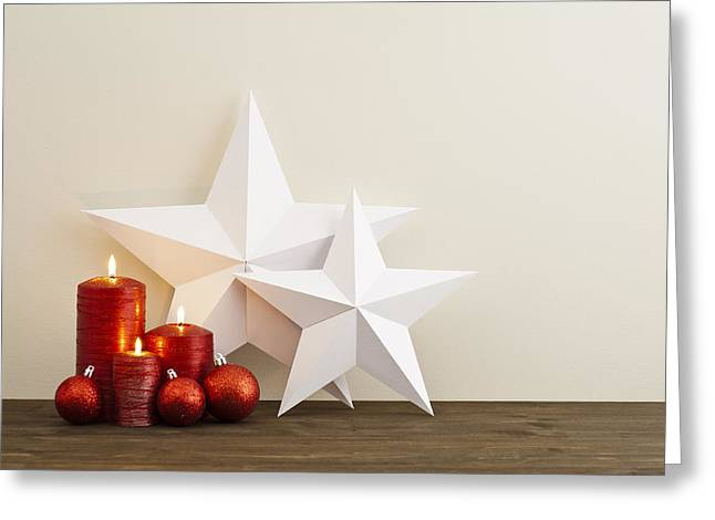 Winter Night Greeting Cards - Two stars with red candles Greeting Card by Ulrich Schade