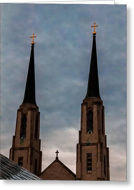 Two Steeples Three Crosses Greeting Card by Gene Sherrill