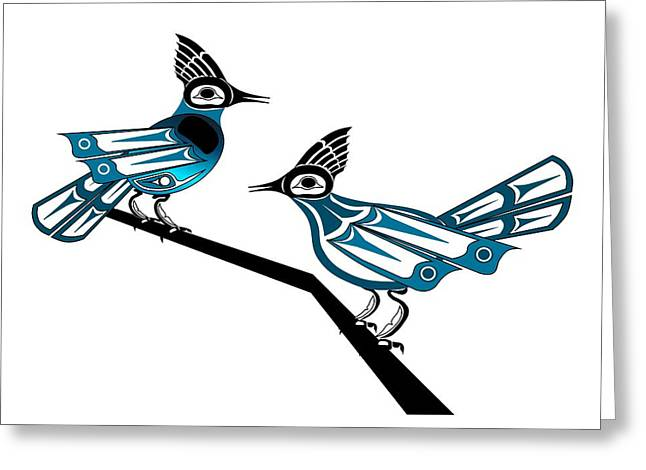 Stellar Drawings Greeting Cards - Two Stellar Jays Greeting Card by Fred Croydon