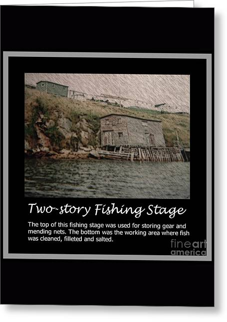 Two-story Fishing Stage Greeting Card by Barbara Griffin