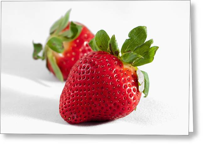 Dressing Room Greeting Cards - Two strawberries isolated on white background Greeting Card by Alexandr Grichenko