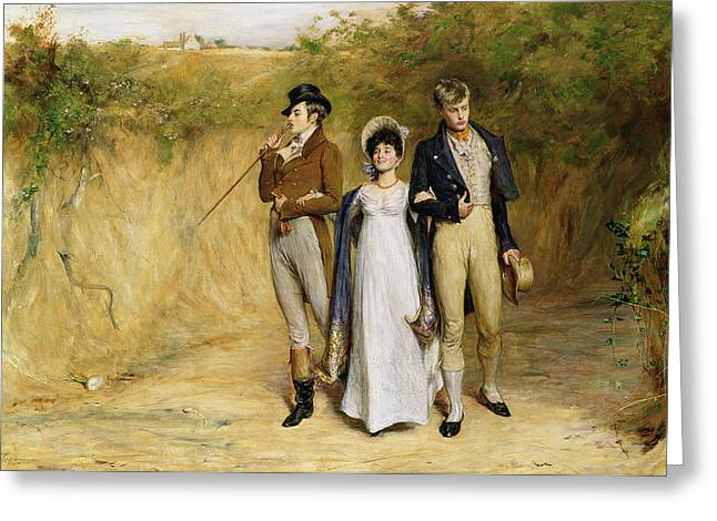 Dating Paintings Greeting Cards - Two Strings to her Bow Greeting Card by John Pettie