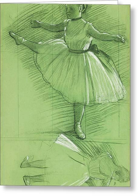 Edgar Drawings Greeting Cards - Two Studies for Dancers Greeting Card by Edgar Degas