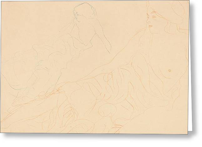 2 Seat Greeting Cards - Two studies of a reclining woman Greeting Card by Gustav Klimt