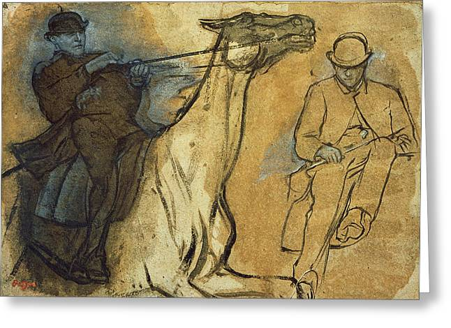 Shade Greeting Cards - Two Studies of Riders Greeting Card by Edgar Degas