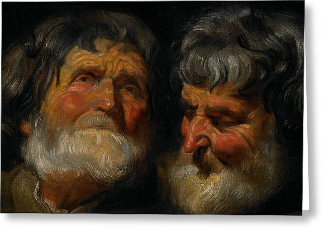 Two Studies Of The Head Of An Old Man Greeting Card by Jacob Jordaens