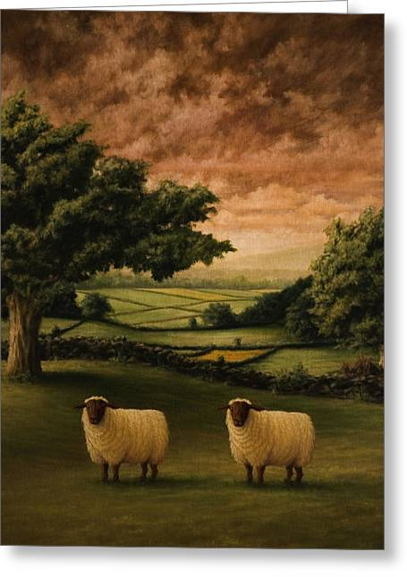 Sheep Greeting Cards - Two Suffolks Greeting Card by Mark Zelmer