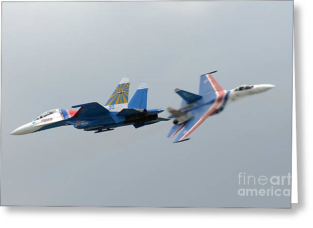 Cooperation Greeting Cards - Two Sukhoi Su-27 Flanker Of The Russian Greeting Card by Remo Guidi